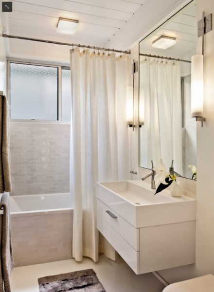 awesome-small-bathroom-with-catchy-white-fabric-curtain-plus-likeable-hanging-sink-units-using-frameless-mirror-design-and-beam-hanging-lights-2-e1491125800267