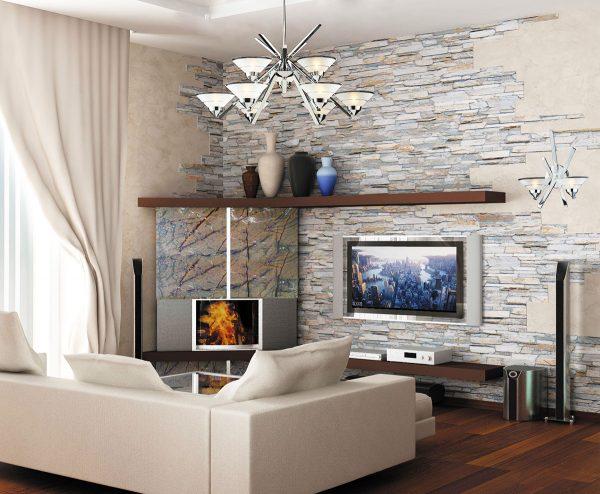 otdelke sten v kvartire dekorativnym kamnem i oboyami 25 29124556