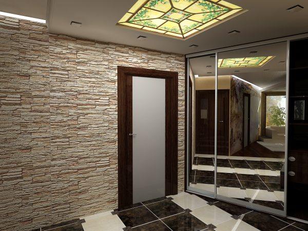 oboi-pod-kamen-v-koridore