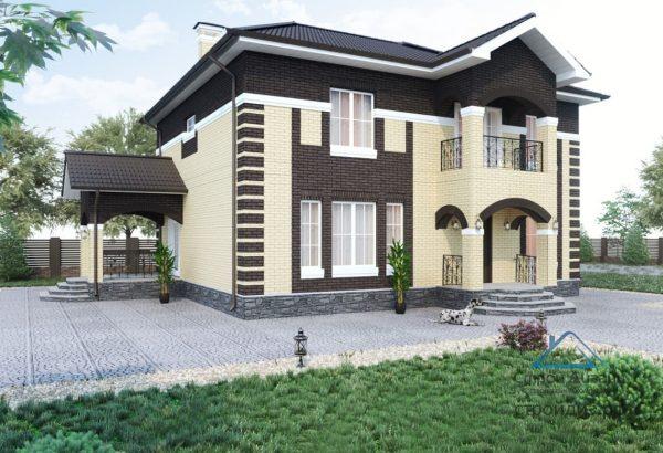 Проект двухэтажного дома с террасой и крыльцом 04-37 | СтройДизайн