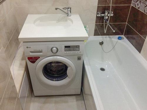 Преимущества и недостатки раковины над стиральной машиной